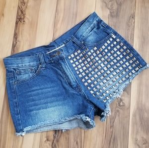 Ellison metal studded denim jean shorts